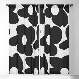 Black Retro Flowers White Background #decor #society6 #buyart Blackout Curtain