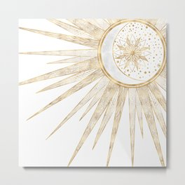 Elegant Gold Doodles Sun Moon Mandala Design Metal Print