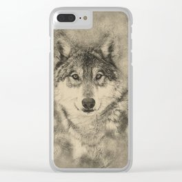 Timber Wolf Pencil Illustration Clear iPhone Case
