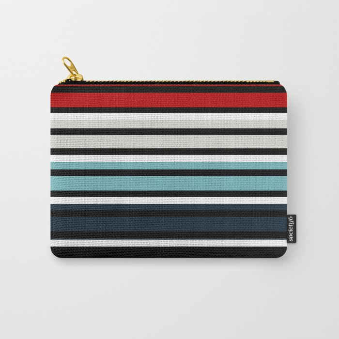 Pattern stripes . Blue , red , white , gray , black . Carry-All Pouch