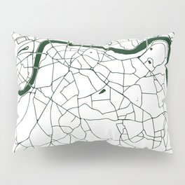 London White on Green Street Map Pillow Sham