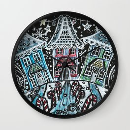 Christmas Snow Village on Black Wall Clock