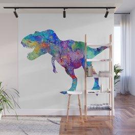 Dinosaur T-Rex Tyrannosaurus Rex Art Animals Nursery Decor Kids Room Watercolor Print Blue Purple Di Wall Mural