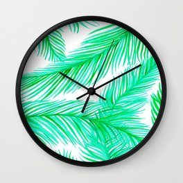 Green and White Tropical Palms Pattern Wall Clock