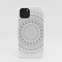 Light Grey White Mandala iPhone Case