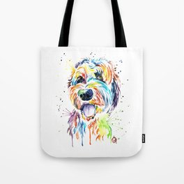 Goldendoodle, Golden Doodle Watercolor Pet Portrait Painting Tote Bag