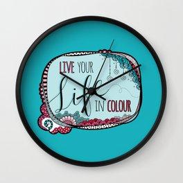 Live Your Life in Colour Aqua Wall Clock