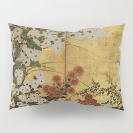 White Red Chrysanthemums Floral Japanese Gold Screen Pillow Sham