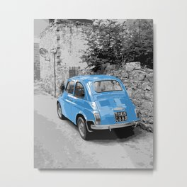 Blue FIAT 500 in a black/white street scene Metal Print
