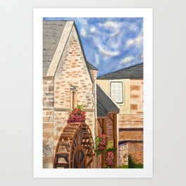 The Old French Mill watercolor art Art Print