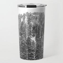 Mountain Snowfall // Snowy Peak Winter Landscape Photography Black and White Art Print Travel Mug