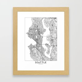 Seattle White Map Framed Art Print
