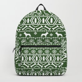 Boston Terrier fair isle dog pattern silhouette christmas sweater green and white Backpack