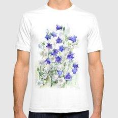 Bluebells watercolor flowers, aquarelle bellflowers White Mens Fitted Tee MEDIUM