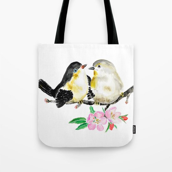 birds and apple flower blossom Tote Bag