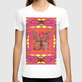 ABSTRACT MONARCH BUTTERFLY IN PINK-YELLOW T-shirt