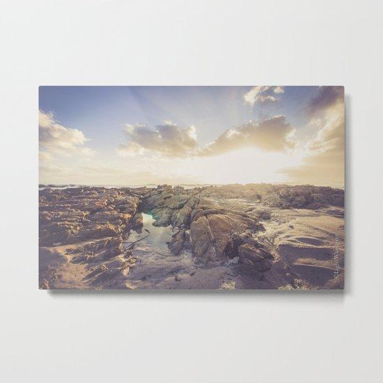 Golden hour, rocky beach landscape Metal Print
