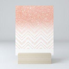 Faux salmon gold glitter ombre modern chevron pattern Mini Art Print
