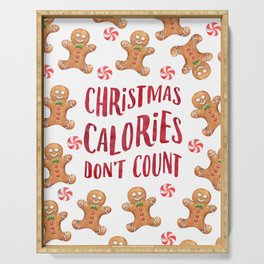 Christmas Calories don't count, watercolor gingerbread Serving Tray