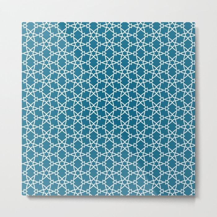 Geometric blue-white pattern Metal Print