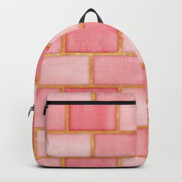 Blush Pink, Rose and Gold Watercolor Subway Tiles Backpack