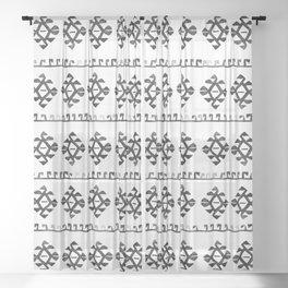 Black and White Bohemian Tribal Ethnic Kilim Pattern Sheer Curtain