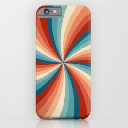 Colorful retro style sun rays iPhone Case