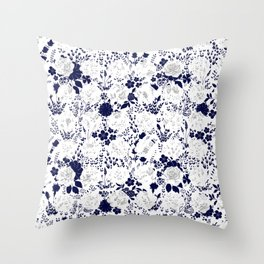 Star Sapphire Floral Celebration Moonlight Blue Rose Throw Pillow