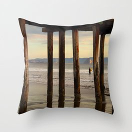 Looking Deeper Morro Bay through Cayucos Pier Throw Pillow