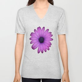 Purple African Daisy with Raindrops Unisex V-Neck