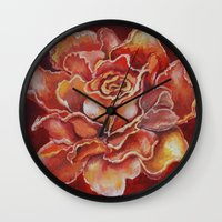 agnes Wall Clocks featuring Agnes Red Rose by notredame777
