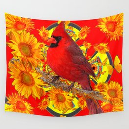 RED CARDINAL YELLOW SUNFLOWERS RED ART Wall Tapestry