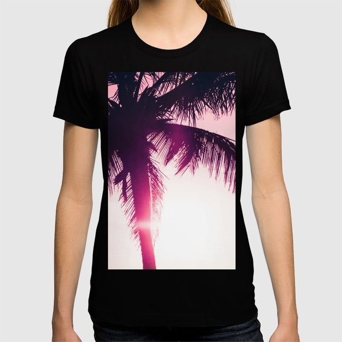 pink palm tree silhouettes kihei tropical nights T-shirt