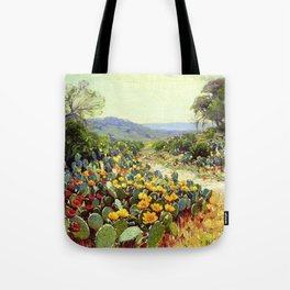 Yellow and Red Cactus Blossoms in the Desert Landscape painting by Robert Julian Onderdonk Tote Bag