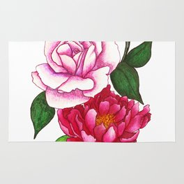 Rose and Peony Flowers Rug