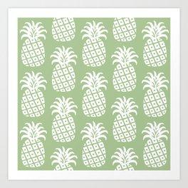Retro Mid Century Modern Pineapple Pattern Sage Green 2 Art Print