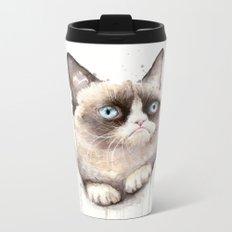 Grumpy Watercolor Cat Animals Meme Geek Art Metal Travel Mug