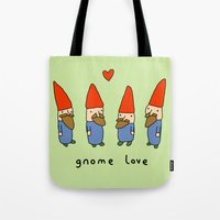 gnome Tote Bags featuring Gnome Love by Sophie Corrigan