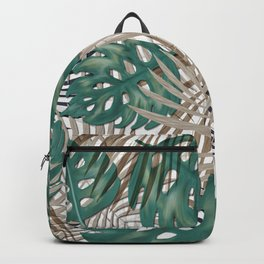 Tropical Leaves Nature Print Palm Fronds Backpack