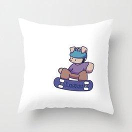 Dog Skateboard boy Throw Pillow