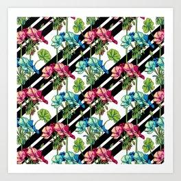 Flowers & Strips Art Print