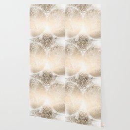 Antique World Map White Gold Wallpaper