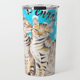 Bengal Cats Polka Dot Watercolor Love Travel Mug