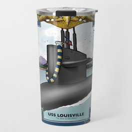 USS Louisville - Pearl Harbor Submarine Service (Gold Dolphins) Travel Mug