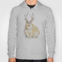 Watercolor Grumpy Jackalope Antler Bunny Hoody