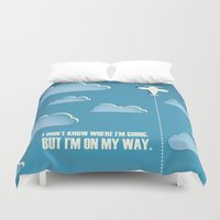sagan Duvet Covers featuring On My Way by Katherine Paulin