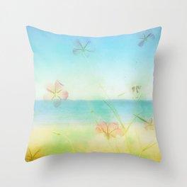 Dreamy Summer Beach Flowers Throw Pillow