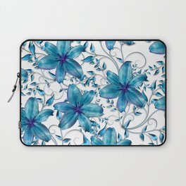 LILY AND VINES BLUE AND WHITE PATTERN Laptop Sleeve