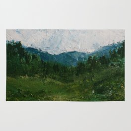 A Forest Under Blue Skies Impasto Painting Rug