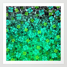 LUCK OF THE IRISH Colorful Emerald Green Ombre St Patricks Day Floral Shamrock Four Leaf Clover Art Art Print